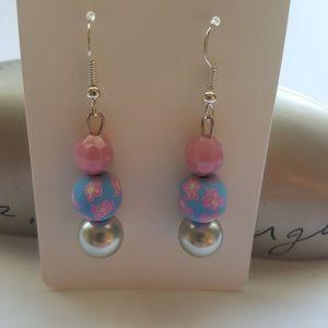 💙🌹 Blue & Pink //Flower Statement Earrings 🌼